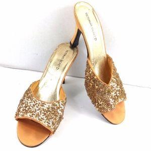Vtg Victoria Secret Gold Sequin Heeled Slippers L